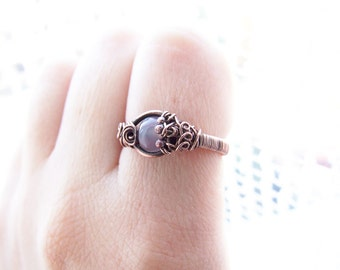 Autumn Agate Ring, Retro Copper Rustic Ring, Autumn Jewelry, Elvish Agate Ring