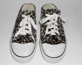 Faux Leopard Fur Sneakers, Slip Ons, Women Size 8, Vintage Shoes