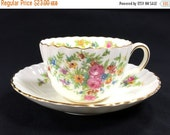 Minton Lorraine, Teacup and Saucer, Floral Tea Cups, Ribbed Teacup, English Tea, 1930s Tea 12680