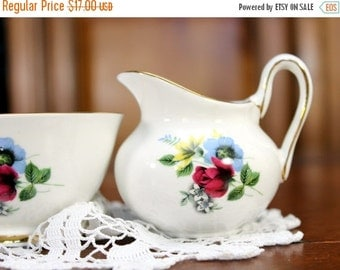 Creamer and Sugar, English Bone China, Royal Sutherland Cream Jug, Sugar Bowl 12117