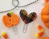 Fall Harvest Pumpkin Clips Set of 2 Planner Clips Bible Journaling Bookmarks