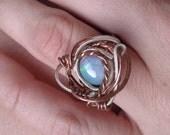 Opal ring in sterling silver and copper. Australian fire opal. Ooak.
