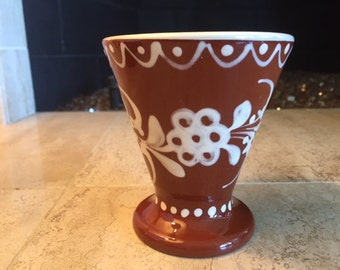 Hungarian Pottery Vintage Brown and Cream Hand Painted Small Vase
