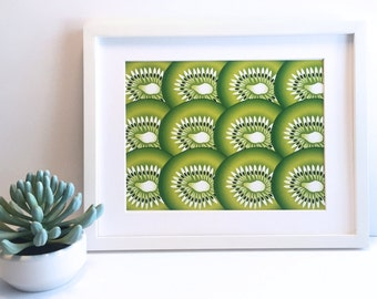 Kiwi Fruit Wall Art Print; 5x7 Fruit Wall Art Print,  8.5x11 Fruit Wall Art Print, Kiwi Fruit Print, Kiwi Wall Art, Kiwi Print