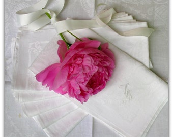 Antique French Linen Napkins -Paris Brocante - 1920's NeoClessical Style Table Damask Linen -White Linen