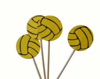 24 Bright Yellow Volleyball Cupcake Toppers, Volleyball Party Decorations - No973