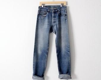 Levis 501 denim jeans, vintage 501s, american denim 31 x 31