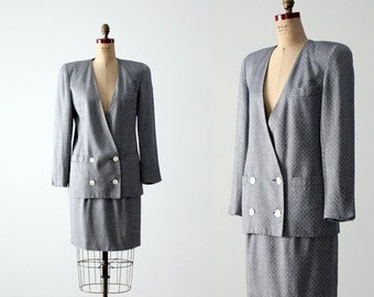 SALE Dior skirt suit, 1980s blue women's skirt and blazer, Christian Dior The Suit