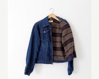 SALE vintage 70s Montgomery Ward denim jacket with blanket lining