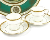 Antique Mintons Demitasse Tea Cups - SET of 2, Bone White with Encrusted Gold / England / c1911
