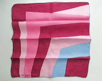 1950s-60s Six matching Erin O'Dell Cotton Handkerchiefs, Hand rolled hem/ abstract / fabric / textiles / MOD  / cotton