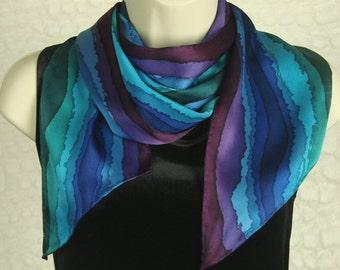 Hand Dyed Jewel Tone Fashion Stripe Silk Scarf for Women