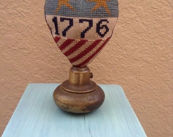 Primitive Patriotic Heart on vintage doorknob