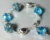 Teal Kashmiri Bracelet with Faceted Iridescent Crystals