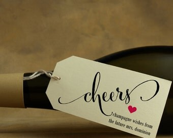 Cheers Tags - Rustic Champagne, Wine Bottle Tag, Holiday Gift, New Years, Hostess Thank You - Set of 8, Twine Included, 2 x 3.5 inches, CAN