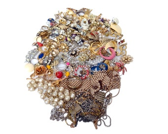 Mixed Jewelry Lot, 150+ Pieces Vintage Estate Costume Jewelry, 2 lbs, Earrings, Brooches, Bracelets, and More, Jewelry Maker Supplies