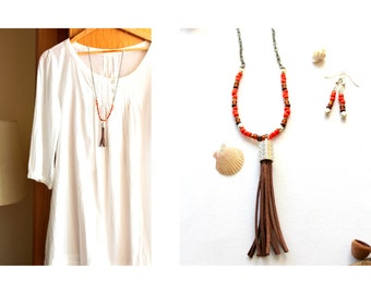 Tassel necklace + earrings ( orange-red )