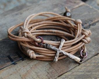 Hammered Bronze Cross Leather Wrap Bracelet