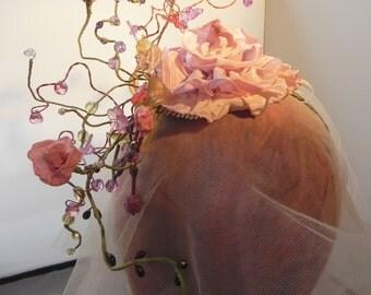 Monet's Garden, Flowered Fascinator , Bridal Headpiece, Floral Crown, Wedding Headband, Art Nouveau Hair Accessory, Floral Millinery