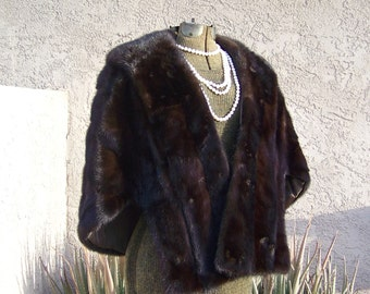 Vintage Mink Fur Shawl Stole Wrap Luxurious Lush Fur Dark Brown Mid Century Fur Accessary 1960s