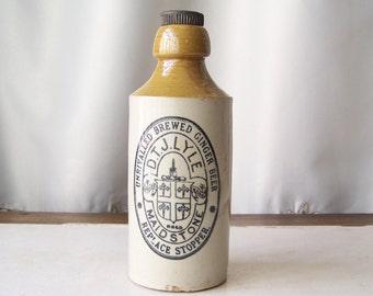 Antique Stoneware Beer Bottle Brewed Ginger Beer Bottle Late 1800s D.T.J.Lyle Bar Decor Man Cave