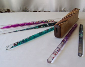 Vintage Inlay Hardwood Kaleidoscope with Five Space Tube Wands Wonder Wands Psychedelic Fun 1980s