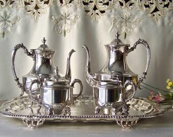 Vintage Tea Service Sheridan Silver Plate Tea Service Serving Tray Teapot Coffee Pot Creamer Sugar Mid Century 1940s