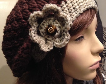 Slouchy Beret with Flower, Brown with Cream and Taupe band and Flower