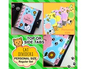 SIZE: PERSONAL Kitty Dividers (Top or Side Tabs / Regular Set) Cute Kawaii Cat Personalised Filofax Dividers