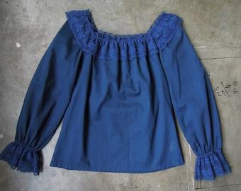 Vtg 70's Dark Blue Lacey Peasant Blouse Cotton Poly Size Medium