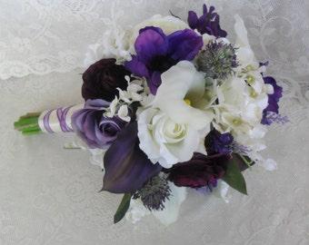 Purple Bridal Bouquet, Silk Wedding Bouquet, Wedding Accessory, Purple/Plum Bridal Flowers, Calla Lily/Hydrangea/Lily of the Valley Bouquet