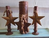 Primitive Candles Glass Pillar Candle Battery Operated Candles Metal Star Wood Star Primitive Candles Grunge Cinnamon Primitive Farmhouse