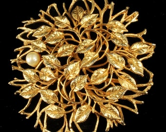 """Vintage Large Open Work Organic Tree Branch Leaves w/ Pearl Pin 2.75"""""""