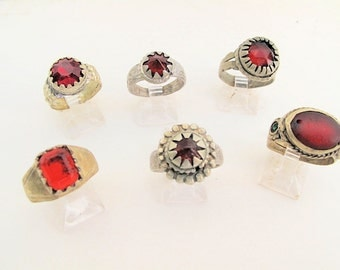 Red Glass Rings from Size 7.5 to 10-Wholesale Lot of 6
