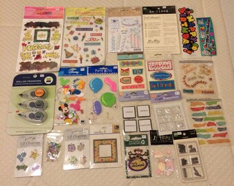 HAPPY BIRTHDAY Big scrapbooking lot - assorted stickers roll-on transfers metal art and more