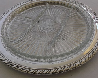 Vintage Serving Platter, Silver Plate Tray with Divided Glass Insert