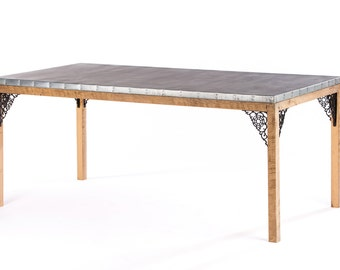 Zinc Dining Table - Barn Wood and Whimsical Metal Brackets