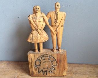 Vintage primitive Folk Art Sculpture Couple Carved Wood