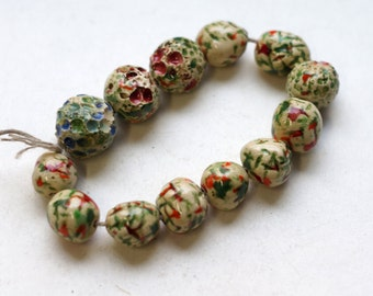 Seeds of a singularity --  13 textured red/green/blue ceramic art beads