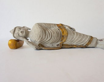 Sleeping Buddha / Solid Brass / Stone Patina / Shipping Included in the U.S.