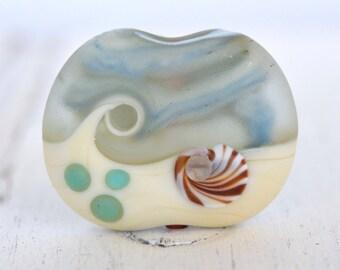 aqua and ivory coin shaped lamp work bead beach bead sea glass lamp work with shell murrini SRA handmade focal 80316-1