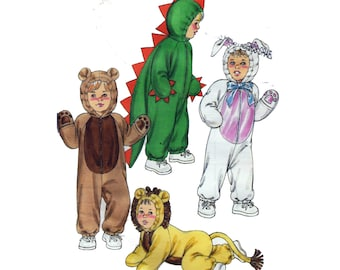 "UNCUT Baby & Toddler Costume Sewing Pattern Dinosaur Bear Lion Bunny Rabbit Cat Children Size 6mo 12mo 2 3 4 Chest 19-23"" Kwik Sew 3099"