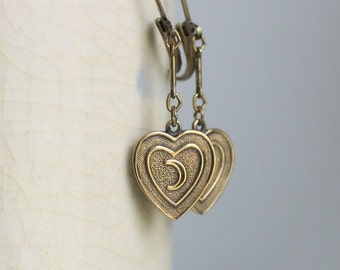 I Love The Moon Earrings - Cute Vintage Heart Moon Leverback Dangles