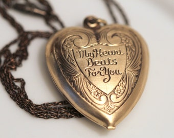 Heart Necklace - Huge Vintage Unusual Brass Puffy Hollow Heart Charm Necklace My Heart Beats For You - Gift For Her