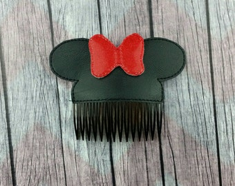 Mouse ears with bow Hair Accessories, hair comb accessory, bun pal, Minnie inspired