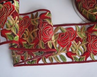 """4"""" Wide (10 cm) Tudor Roses Leaves Mustard Green Christmas Red Gold Metallic Sew On Iron On Embroidered Trim / Christmas Decor Costumes"""
