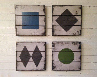Ski Trail Symbols, 4 Handcrafted Rustic Wood Signs, Mountain Decor for Home and Cabin, 2091