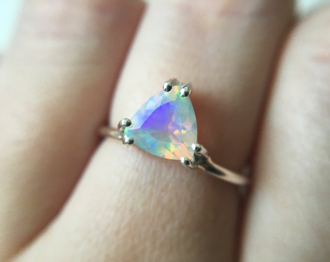Trillion Faceted Ethiopian Opal Ring - sterling silver opal ring - faceted welo opal ring - opal engagement ring - triangle stone ring