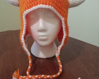 Crochet Kit - Horned Earflap Hat for Texas Longhorns, adult size