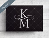 Black and White Save the Date Printable Postcard
